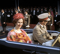 0141314 © Granger - Historical Picture ArchiveFABIOLA AND BAUDOUIN 1ER OF BELGIQUE.   Queen Fabiola of Belgium and king Baudouin 1st c. 1965. Full credit: AGIP - Rue des Archives / Granger, NYC -- All rights reserved.