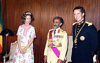 0141319 © Granger - Historical Picture ArchiveFABIOLA, HAILE SELASSIE, BAUDOUIN.   king Baudouin and queen Fabiola of Belgium during official visit in Ethiopia with emperor Haile Selassie in 1972. Full credit: AGIP - Rue des Archives / Granger, NYC -- All rights reserved.
