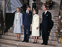 0141385 © Granger - Historical Picture ArchiveFAMILLE ROYALE OF LUXEMBOURG.   Grand Duchess Josephine-Charlotte of Luxembourg (l) and her husband Grand Duke Jean of Luxembourg (r) with their son prince Henri (future Grand Duke) and his fiancee Maria Teresa Mestre y Batista, november 1980. Full credit: AGIP - Rue des Archives / Granger, NYC -- All Rights Reserved.