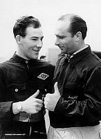 0141434 © Granger - Historical Picture ArchiveFANGIO.   Racing driver Juan Manuel Fangio (r) here with Stirling Moss (l) april 14, 1952. Full credit: AGIP - Rue des Archives / Granger, NYC -- All rights reserved.