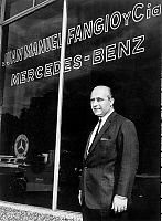0141439 © Granger - Historical Picture ArchiveFANGIO.   racing driver Fangio here in front of his shop in Buenos Aires 1965 Mercedes Benz. Full credit: AGIP - Rue des Archives / Granger, NYC -- All rights reserved.