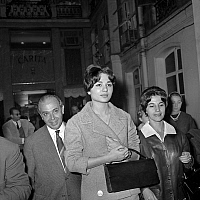 0141462 © Granger - Historical Picture ArchiveFARAH DIBA CHEZ CARITA A PARIS.   Mr Tabatabai Diba, Farah Diba fiancee of the Chah of Iran and Mrs Iabatabai-Diba coming out from hairdresser Carita in Paris october 24, 1959. Full credit: AGIP - Rue des Archives / Granger, NYC -- All righ