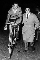 0141509 © Granger - Historical Picture ArchiveFAUSTO COPPI.   cyclist Fausto Coppi during Lombardy race november 2, 1954. Full credit: AGIP - Rue des Archives / Granger, NYC -- All Rights Reserved.
