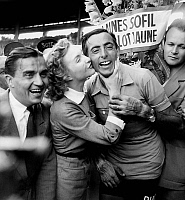 0141511 © Granger - Historical Picture ArchiveFAUSTO COPPI.   Fausto Coppi who won the France cycling race is congratulated by singer Line Renaud july 19, 1952. Full credit: AGIP - Rue des Archives / Granger, NYC -- All rights