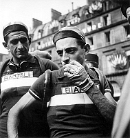0141512 © Granger - Historical Picture ArchiveFAUSTO COPPI.   Fausto Coppi during France cycling race june 30, 1949. Full credit: AGIP - Rue des Archives / Granger, NYC -- All Rights Reserved.
