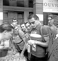 0141515 © Granger - Historical Picture ArchiveFAUSTO COPPI.   Italian cyclist Fausto Coppi during France cycling race june 30, 1949. Full credit: AGIP - Rue des Archives / Granger, NYC -- All rights reserved.
