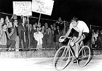0141517 © Granger - Historical Picture ArchiveFAUSTO COPPI.   rivalry Coppi-Bastoli : Bastoli's supporters showing signs on Fausto Coppi during the France cycling race june 20, 1953. Full credit: AGIP - Rue des Archives / Granger, NYC -- All Rights Reserved.