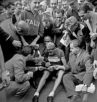 0141519 © Granger - Historical Picture ArchiveFAUSTO COPPI.   Fausto Coppi italian cyclist during Tour de France june 30, 1949. Full credit: AGIP - Rue des Archives / Granger, NYC -- All rights reserved.