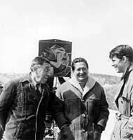 0141693 © Granger - Historical Picture ArchiveFERNANDEL AND TERZIEFF.   Fernandel, director Denys de la Patelliere and Laurent Terzieff on set of film Le Voyage du Pere april 02, 1966. Full credit: AGIP - Rue des Archives / Granger, NYC -- All Rights Reserved.