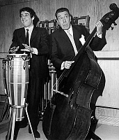0141698 © Granger - Historical Picture ArchiveFERNANDEL PERE AND FILS.   French actors at double bass and tomtom drum have a jam after radio session march 15, 1968. Full credit: AGIP - Rue des Archives / Granger, NYC -- All ri.