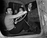 0141702 © Granger - Historical Picture ArchiveFERNANDO ARRABAL.   during rehearsal of the play Cimetiere de voiture l-r : Fernando Arrabal, Victor Garcia and Jean Claude Drouot on december 5, 1967. Full credit: AGIP - Rue des Archives / Granger, NYC -- All rights reserved.