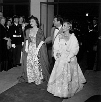 0141728 © Granger - Historical Picture ArchiveFESTIVAL OF CANNES 1954.   Cannes film Festival : Edwige Feuillere Jean Pierre Aumont and Michele Morgan. Full credit: AGIP - Rue des Archives / Granger, NYC -- All rights reserved
