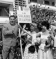 0141730 © Granger - Historical Picture ArchiveFESTIVAL OF CANNES 1955.   Cannes film Festival : Folco Lulli Sophie Desmarets et Chaya Harsrit, May 6, 1955. Full credit: AGIP - Rue des Archives / Granger, NYC -- All rights rese