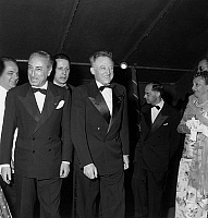 0141731 © Granger - Historical Picture ArchiveFESTIVAL OF CANNES 1955.   Cannes film Festival : representative Edouard Corniglion Molinier, festival director Robert Favre Le Bret and Andre Morice (cinema minister). Full credit: AGIP - Rue des Archives / Granger, NYC -- All rights reser