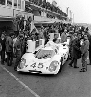 0141796 © Granger - Historical Picture ArchiveFILE OF PORSCHES AUX 24 HEURES DU MANS.   Porsches at Le Mans 24-Hour Car Race (France) on march 30, 1969. Full credit: AGIP - Rue des Archives / Granger, NYC -- All rights reserve