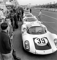 0141797 © Granger - Historical Picture ArchiveFILE OF PORSCHES AUX 24 HEURES DU MANS.   Porsches at Le Mans 24-Hour Car Race (France) on june 8, 1967. Full credit: AGIP - Rue des Archives / Granger, NYC -- All rights reserved.