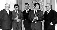 0141798 © Granger - Historical Picture ArchiveFILIPACCHI AND TENOT.   Manuel Tarin handing to Daniel Filipacchi (2nd left) and Frank Tenot prize for best youth-radio-program march 12, 1966, here with Sylvain Floirat and Louis Merlin. Full credit: AGIP - Rue des Archives / Granger, NYC -- All Rights Reserved.