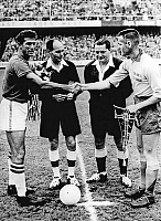 0141809 © Granger - Historical Picture ArchiveFINALE OF THE COUPE DU MONDE OF FOOTBALL.   Finale of FIFA World cup on june 29, 1958 in Sweden : Santos shaking hand of Nils Liedholm before the match. Full credit: AGIP - Rue des Archives / Granger, NYC -- All rights reserved.