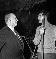 0141816 © Granger - Historical Picture ArchiveFIRMIN BOUGLIONE.   Firmin Bouglione giving some advices to actor Jean Claude Brialy for his lions act at artists union show april 18, 1972. Full credit: AGIP - Rue des Archives / Granger, NYC -- All rights reserved.