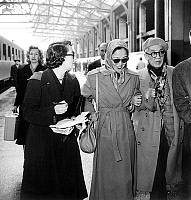 0141887 © Granger - Historical Picture ArchiveFOUJITA.   After a ten years absence japonese painter Foujita is back in Paris here with his wife in parisian railway station february 4, 1950. Full credit: AGIP - Rue des Archives / Granger, NYC -- All rights reserved.