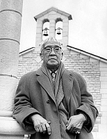 0141888 © Granger - Historical Picture ArchiveFOUJITA.   painter Foujita in front of the chapel he designed october 18, 1966. Full credit: AGIP - Rue des Archives / Granger, NYC -- All Rights Reserved.