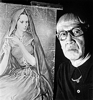 0141889 © Granger - Historical Picture ArchiveFOUJITA.   painter Foujita (1886-1968) with one of his paintings c. 1950. Full credit: AGIP - Rue des Archives / Granger, NYC -- All Rights Reserved.