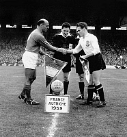 0141942 © Granger - Historical Picture ArchiveFRANCE AUTRICHE.   soccer match between France team and Austria team in Colombes during Europe Nations Cup, france won 5-2, here footballers shaking hands before the game december 13, 1959. Full credit: AGIP - Rue des Archives / Granger, NYC -- All Rights Reserved.