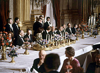0142139 © Granger - Historical Picture ArchiveFRANCOIS MITTERRAND.   Francois Mitterrand during a diner given by king Baudouin 1st of Belgium and queen Fabiola in Brussels on october 12, 1983. l-r : queen Fabiola, Francois Mitterrand, king Baudouin, Danielle Mitterrand, prince Albert, Gaston Deferre, a belgian personality, Charles Fiterman (french minister of transport). Full credit: AGIP - Rue des Arc