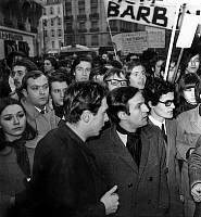 0142233 © Granger - Historical Picture ArchiveFRANCOIS TRUFFAUT.   french director Francois Truffaut during demonstration for defence of french film archive institution in Paris march 19, 1968. Full credit: AGIP - Rue des Archives / Granger, NYC -- All rights reserved.