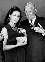 0142308 © Granger - Historical Picture ArchiveFRANCOISE FABIAN.   Francoise Fabian and Maurice Chevalier receiving courtesy cross in 1966. Full credit: AGIP - Rue des Archives / Granger, NYC -- All rights reserved.