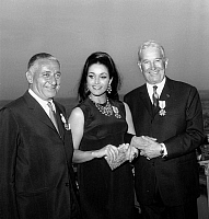 0142309 © Granger - Historical Picture ArchiveFRANCOISE FABIAN.   Marcel Bleustein Blanchet, Francoise Fabian and Maurice Chevalier receiving courtesy cross in 1966. Full credit: AGIP - Rue des Archives / Granger, NYC -- All Rights Reserved.