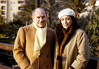 0142321 © Granger - Historical Picture ArchiveFRANCOISE FABIAN.   Francoise Fabian and companion Marcel Bozzuffi at Monte-Carlo tv-festival february 13, 1984. Full credit: AGIP - Rue des Archives / Granger, NYC -- All rights r