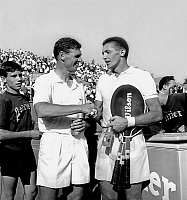 0142449 © Granger - Historical Picture ArchiveFRANK SEDGMAN AND TONY TRABERT.   Australian tennisman Frank Sedgman (l) congratulating american Tony Trabert who has won the finale of professionnal tennis championship in Paris on september 12, 1959. Full credit: AGIP - Rue des Archives / Granger, NYC -- All rights reserved.