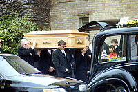 0142484 © Granger - Historical Picture ArchiveFREDDIE MERCURY.   Funeral of Freddy Mercury, singer of Queen band november 27, 1991. Full credit: AGIP - Rue des Archives / Granger, NYC -- All rights reserved.