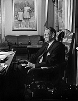 0142496 © Granger - Historical Picture ArchiveFREDERIC IX OF DANEMARK.   King Frederic IX of Denmark in his office in Copenhagen, Amalienborg palace, 1969. Full credit: AGIP - Rue des Archives / Granger, NYC -- All rights rese