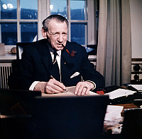 0142500 © Granger - Historical Picture ArchiveFREDERIC IX OF DANEMARK.   King Frederic IX of Denmark in Copenhagen, in his office in Amalienborg palace, 1969. Full credit: AGIP - Rue des Archives / Granger, NYC -- All rights r