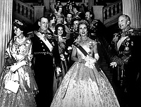 0142503 © Granger - Historical Picture ArchiveFREDERIC IX AND INGRID.   king Frederik IX and queen Ingrid of Denmark (Anne Marie's parents), with king Pauls 1st and his wife queen queen Frederika of Greece and 2nd row prince Constantin of Greece with his wife princess Anne Marie at royal palace in Stockholm 1960. Full credit: AGIP - Rue des Archives / Granger, NYC -- All rights reserved.