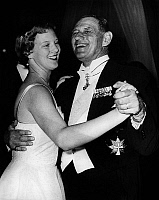0142505 © Granger - Historical Picture ArchiveFREDERIC IX AND MARGRETHE OF DANEMARK.   Princess Margrethe of Denmark (future queen Margrethe II) dancing at gala with her father king Frederick IX of Denmark in 1958. Full credit: AGIP - Rue des Archives / Granger, NYC -- All rights reser