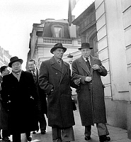 0142508 © Granger - Historical Picture ArchiveFREDERIC JOLIOT CURIE.   Frederic Joliot-Curie and Ferurano Grenier leaving USSR embassy after death of -Staline on march 6, 1953. Full credit: AGIP - Rue des Archives / Granger, NYC -- All Rights Reserved.