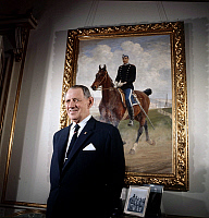 0142530 © Granger - Historical Picture ArchiveFREDERICK IX.   king Frederick IX of Denmark in the late 60's (behing him, a painting of Christian X riding horse). Full credit: AGIP - Rue des Archives / Granger, NYC -- All right