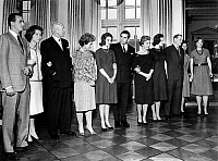 0142546 © Granger - Historical Picture ArchiveFREDERIKA OF GRECE.   Royal family in Amalienborg : l-r Don Juan Carlos of Spain and his wife Princess Sophie (wearing Chanel suit), queen Frederika of Greece, Princess Anne Marie and Prince Constantin, queen Ingrid of Denmark and her daughters Princesses Margrethe and Benedikte, and Princess Irene november 27, 1963. Full credit: AGIP - Rue des Archives /