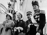 0142549 © Granger - Historical Picture ArchiveFREDERIKA AND PAUL 1ER OF GRECE.   queen Frederika of Greece of Greece and king Paul 1st of Greece december 15, 1967 with Prince Peter pretender to the throne after counter putsch by kingConstantine. Full credit: AGIP - Rue des Archives / Granger, NYC -- All Rights Reserved.