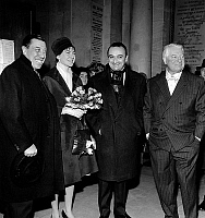 0142572 © Granger - Historical Picture ArchiveGABIN AU MARIAGE OF VERNEUIL.   French actors Fernandel and Jean Gabin are witnesses of director Henri Verneuil 's wedding february 10, 1961. Full credit: AGIP - Rue des Archives / Granger, NYC -- All rights reserved.