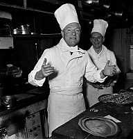 0142575 © Granger - Historical Picture ArchiveGABIN CUISTOT.   French Artists' Union organising diner in a great restaurant in Paris, here Jean Gabin as cook preparing frog legs april 21, 1949. Full credit: AGIP - Rue des Archives / Granger, NYC -- All rights reserved.