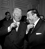 0142578 © Granger - Historical Picture ArchiveGABIN AND FERNANDEL.   Jean Gabin and Fernandel as witnesses at the wedding of HenriVerneuil and FrancoiseBonnot february 10, 1961. Full credit: AGIP - Rue des Archives / Granger, NYC -- All Rights Reserved.