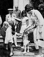 0142837 © Granger - Historical Picture ArchiveGENERAL FRANCO AND THE FAMILLE ROYALE ESPAGNOLE.   general Francisco Franco shaking hands with young Prince Felipe, on the right is princess Sophia of Spain, on the left princess Elena and on the 2nd row Mariola (Franco's grand-daughter) august 07, 1969. Full credit: AGIP - Rue des Archives / Granger, NYC -- All Rights Reserved.