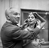 0142919 © Granger - Historical Picture ArchiveGEORGE BALANCHINE AND SUZANNE FARRELL.   George Balanchine and dancer Suzanne Farrell wearing Van Cleef and Arpels jewelry for Balanchine's ballet Jewels september 24, 1976 in Paris. Full credit: AGIP - Rue des Archives / Granger, NYC -- All Rights Reserved.