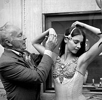 0142921 © Granger - Historical Picture ArchiveGEORGE BALANCHINE AND SUZANNE FARRELL.   George Balanchine and dancer Suzanne Farrell wearing Van Cleef and Arpels jewelry for Balanchine's ballet Jewels september 24, 1976 in Paris. Full credit: AGIP - Rue des Archives / Granger, NYC -- All Rights Reserved.