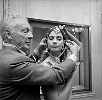0142923 © Granger - Historical Picture ArchiveGEORGE BALANCHINE AND SUZANNE FARRELL.   George Balanchine and dancer Suzanne Farrell wearing Van Cleef and Arpels jewelry for Balanchine's ballet Jewels september 24, 1976 in Paris. Full credit: AGIP - Rue des Archives / Granger, NYC -- All Rights Reserved.