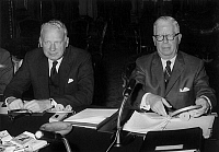 0142926 © Granger - Historical Picture ArchiveGEORGE BALL AND HENRY FOWLER.   George Ball (the american assistant of foreign minister), and Henry Fowler ( american minister in charge of public finance) at the ministry of finance in Paris during a conference, august 31, 1965. Full credit: AGIP - Rue des Archives / Granger, NYC -- All rights rese